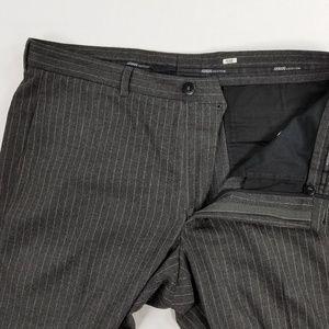 Armani Collezioni Striped Gray Dress Trouser Pants